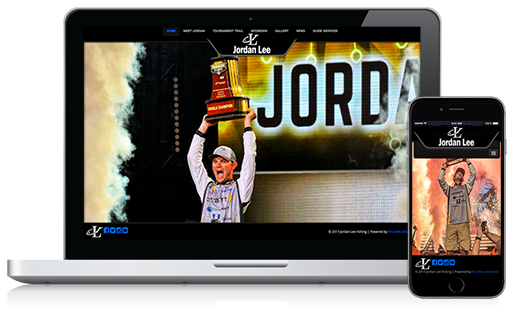 Jordan Lee angler website with Pro Sites Unlimited